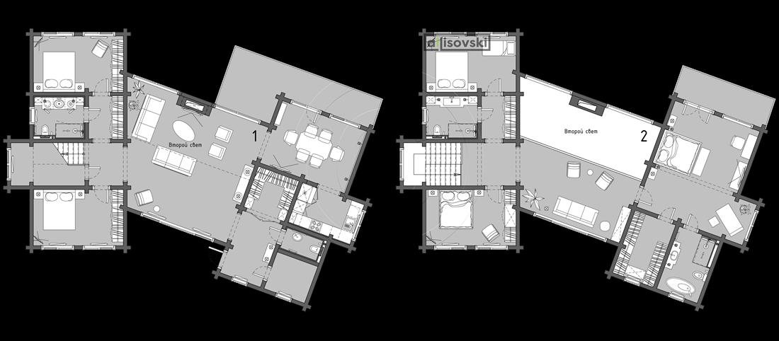 Расположение мебели дом из бруса