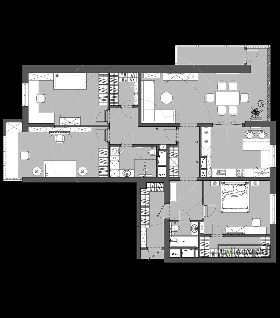 Планировка с расстановкой мебели Скай Форт