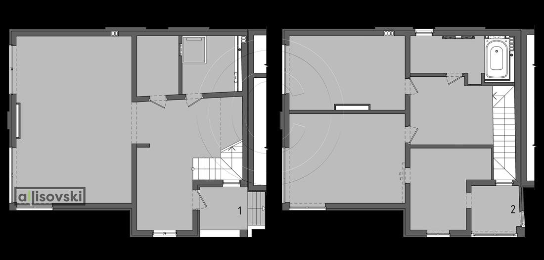 Планировка частного двухэтажного дома