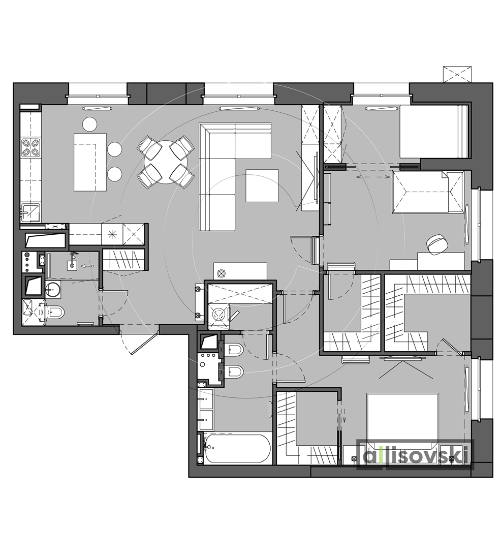 Проект квартиры мебель ЖК Родной город
