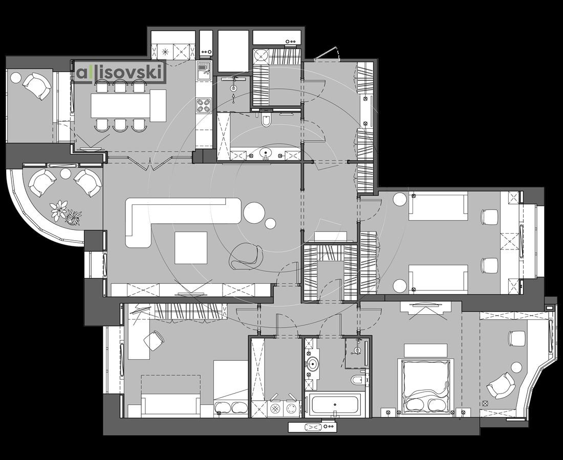 Планировка с мебелью многокомнатной квартиры