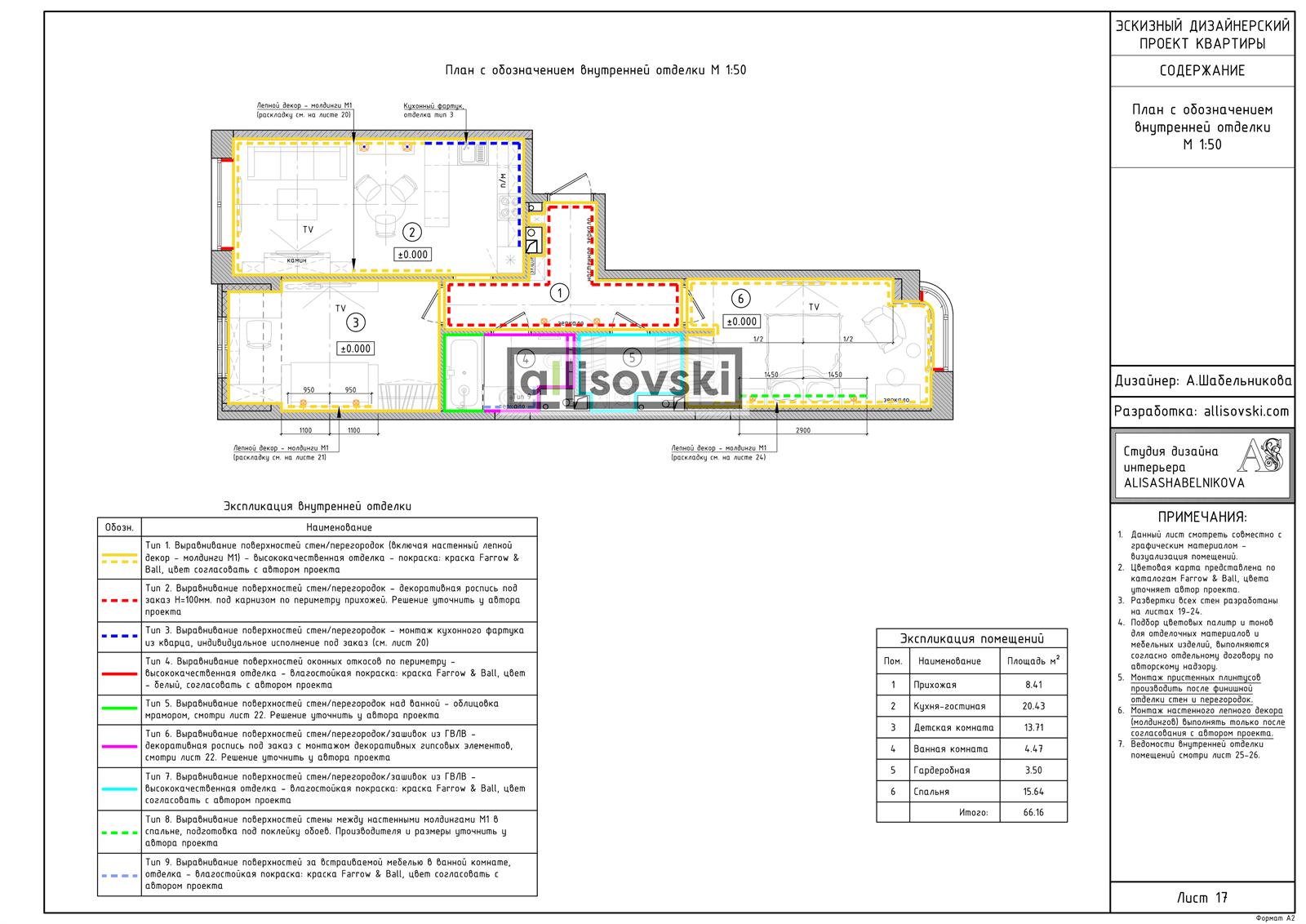 План обозначения отделки