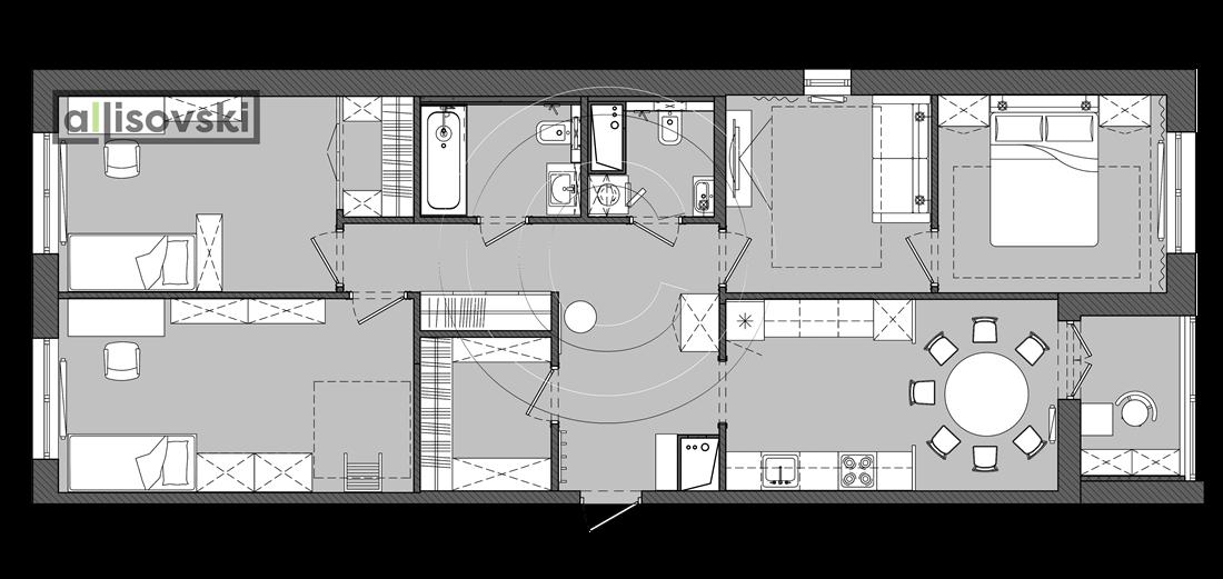 План перепланировки с расстановкой мебели ЖК Лайф