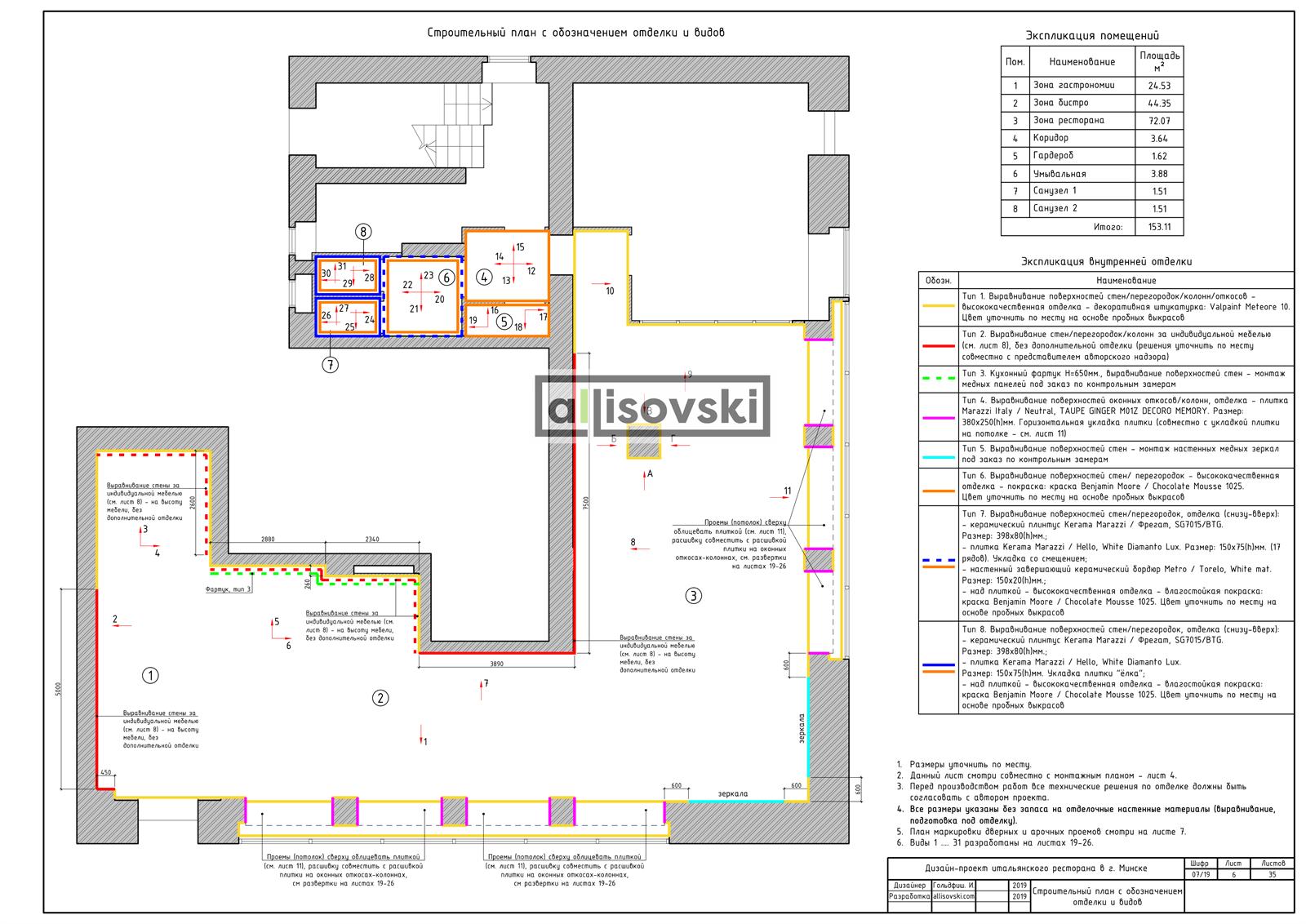 План отделки ресторана