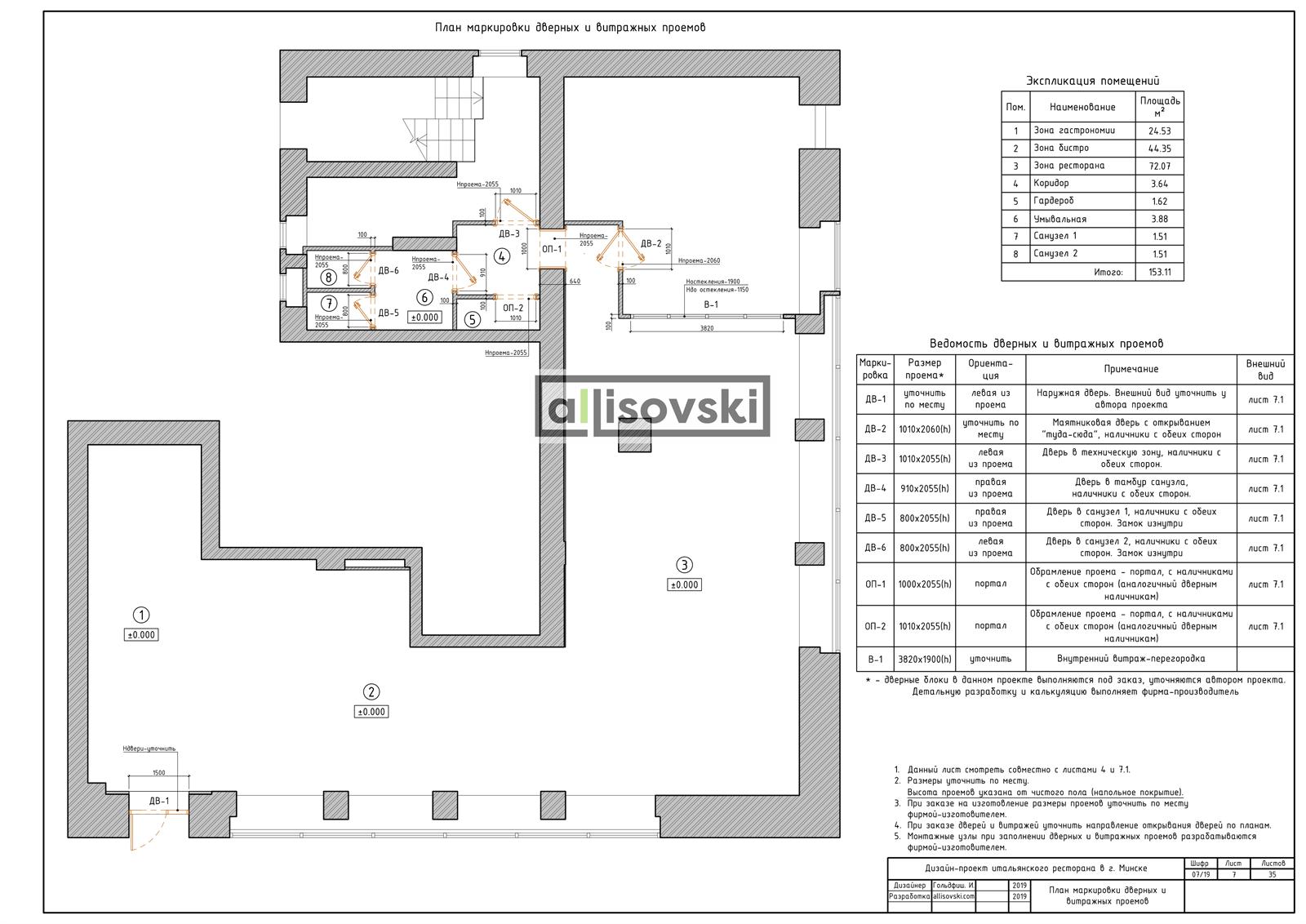 План дверей для ресторана