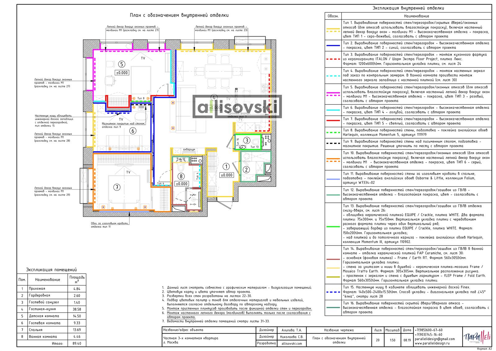 План с обозначением внутренней отделки стен