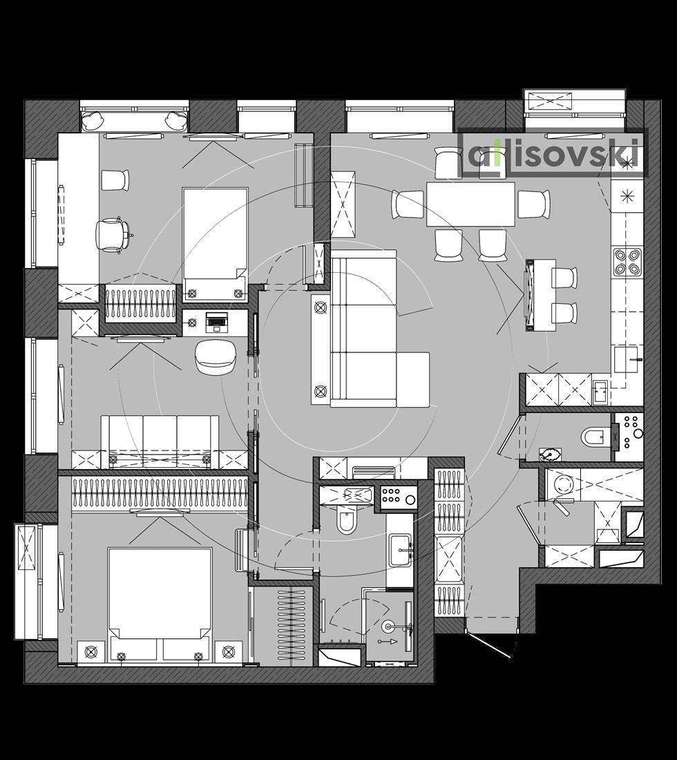 Перепланировка квартиры ЖК Домашний