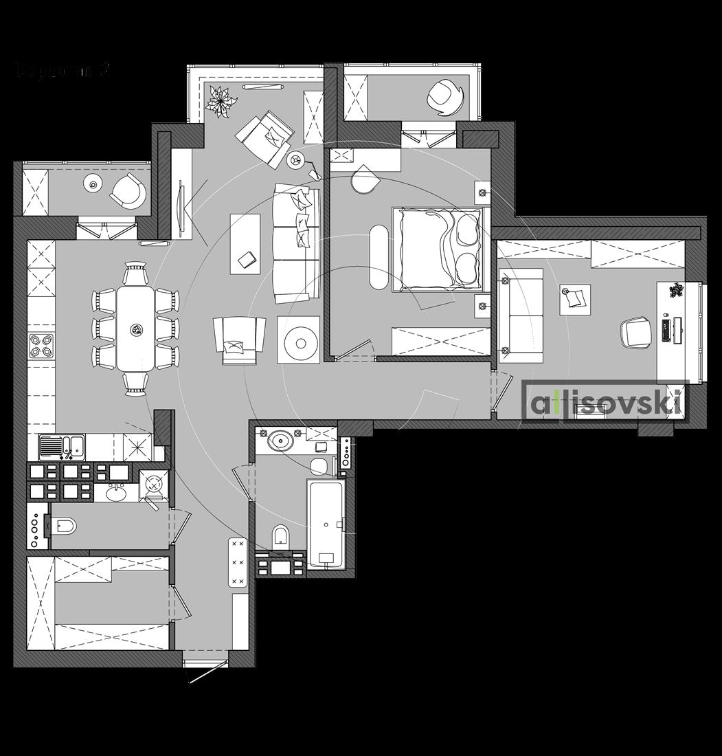 Планировка квартиры Лебяжий