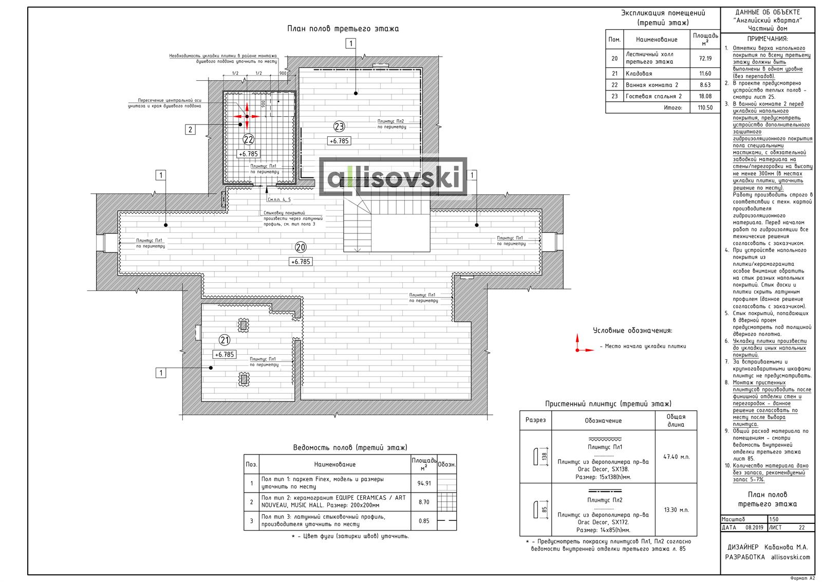 План полов третьего этажа