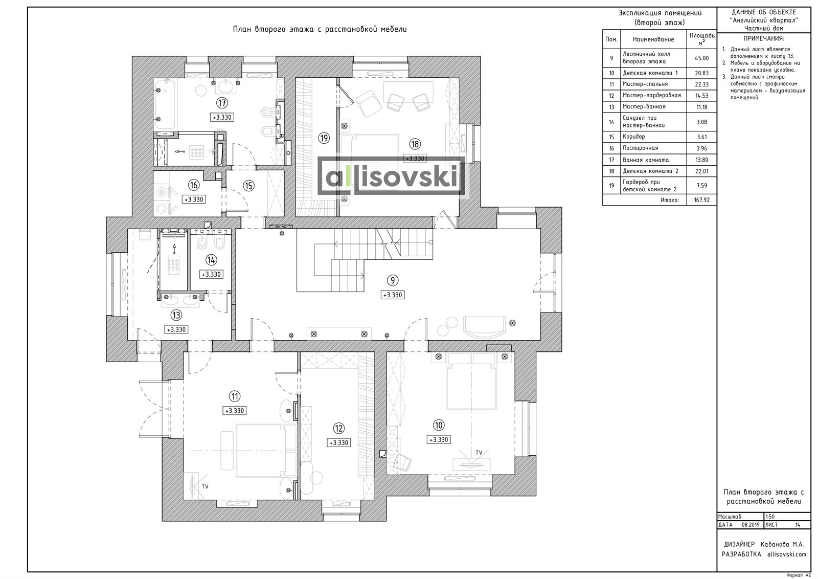 План мебели на втором этаже