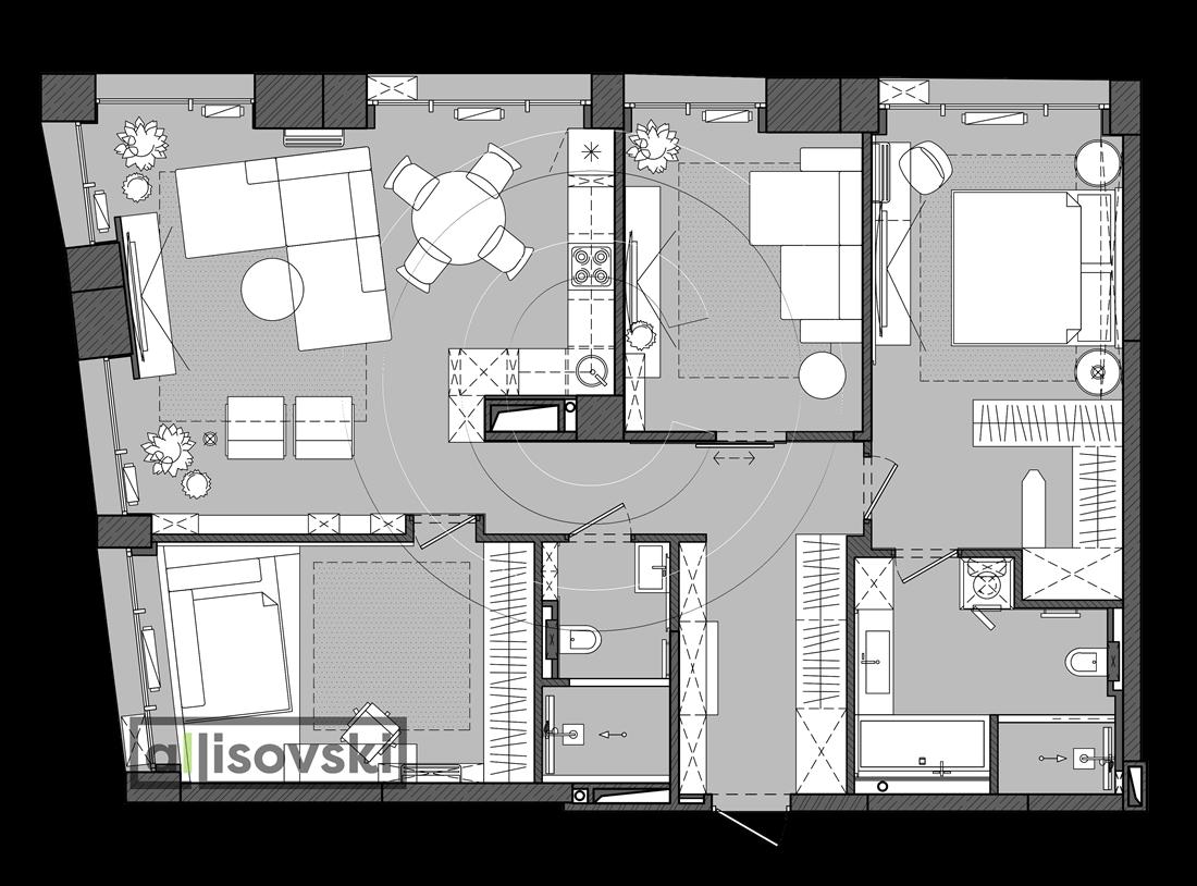 Чертежи планировки с мебелью