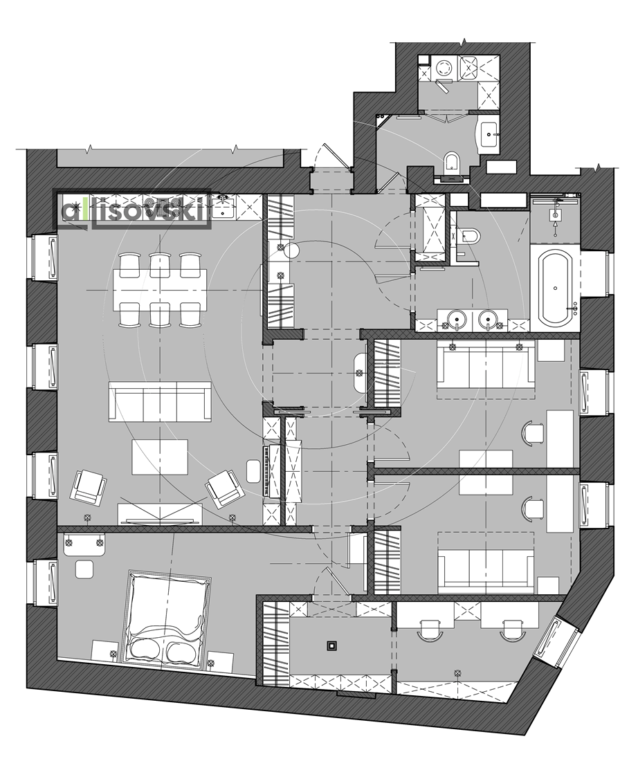 Планировка с расстановкой мебели в квартире